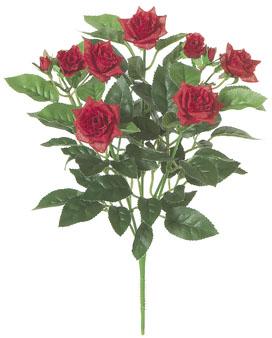 屋内用造花バラブッシュ鉢ナシ(ミニダイヤモンドローズ・レッド・全長27cm/花径1〜4.5cm)FLB8004