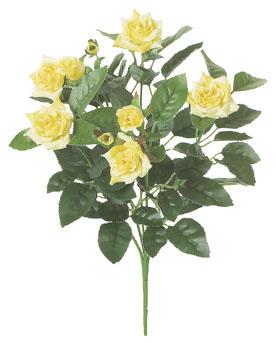 屋内用造花バラブッシュ鉢ナシ(ミニダイヤモンドローズ・イエロー・全長27cm/花径1〜4.5cm)FLB8004