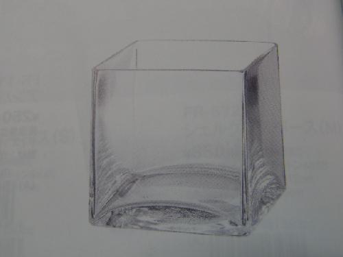ガラス製フラワーベース(キューブS・6個入り・h8×8×8cm)FR1202