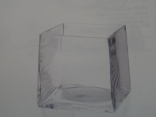 ガラス製フラワーベース(キューブL・4個入り・h12×12×12cm)