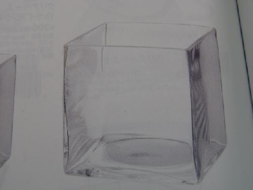 ガラス製フラワーベース(キューブLL・4個入り・h15×15×15cm)