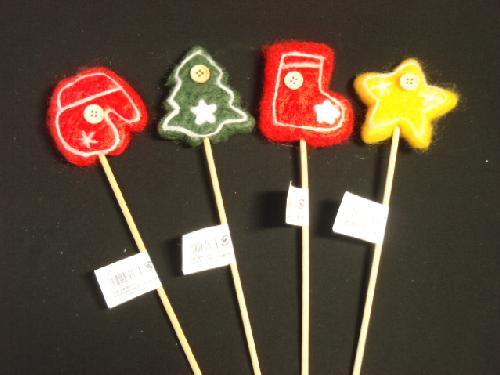 卸販売クリスマス雑貨(毛糸風クリスマスピック・4種12個入り・陶器製)XM177