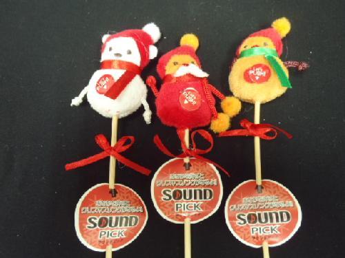 卸販売クリスマス雑貨(サウンドピック・3種6個入り)XM433