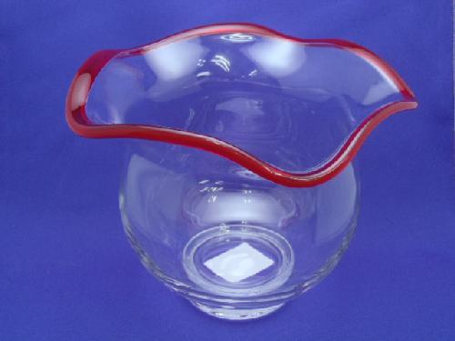 ガラス製金魚鉢(S・h17cm・赤)FR676