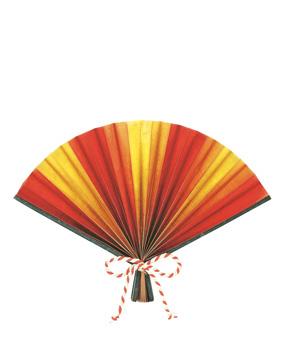 デコレーション扇(S全長28cm・赤/金)紙製・片面DE1314S