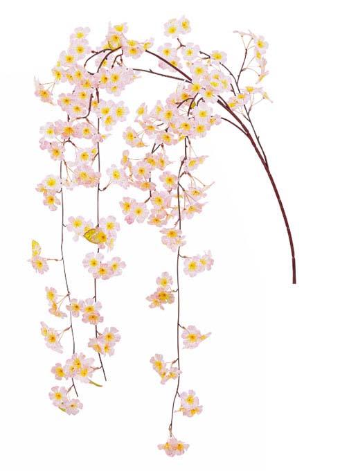 造花桜枝(しだれ桜大枝・全長150cm・しだれ部60cm・花径5cm6本)FLS0669