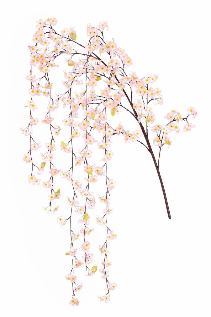 造花桜枝(特大しだれ桜大枝・全長220cm・しだれ部110cm・花径5cm6本)FLS5173