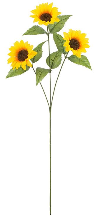販促用造花(ひまわり3輪付き全長59花径8.5cm)24本入り・卸価格FLS5288
