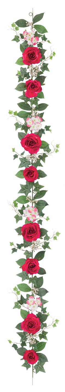 屋内用造花バラガーランド(ファインローズ・ビューティー・全長180cm/花径3.5〜11cm)FLG−3017