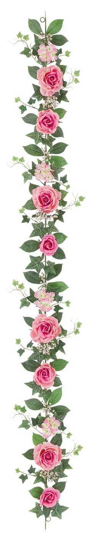 屋内用造花バラガーランド(ファインローズ・モーヴ・全長180cm/花径3.5〜11cm)FLG−3017