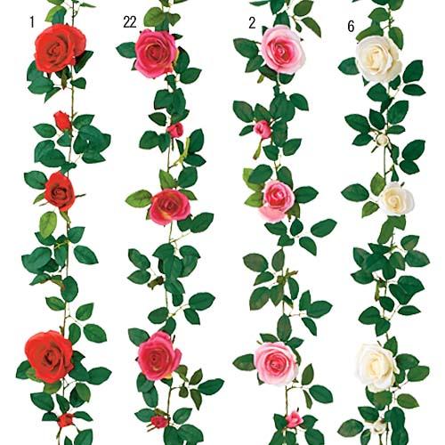 屋内用造花ミニバラガーランド(イングリッシュローズ・全長180cm/花径8〜10cm)ポリエステル製FLGA7707