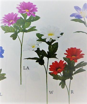 卸販売造花(デージー×2輪・単色48本入り)2996