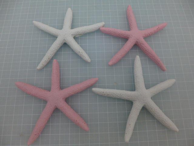 匂わないインテリアシェル(ヒトデ9cm4個セット・ピンク/ホワイト)ポリレジン製