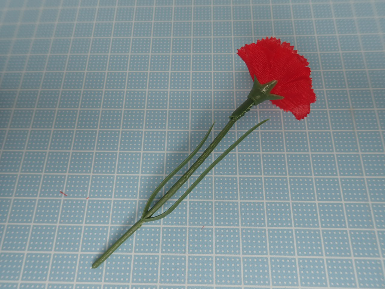 造花1本販売(カーネションミニ・レッド)全長10cm花径3,5cm
