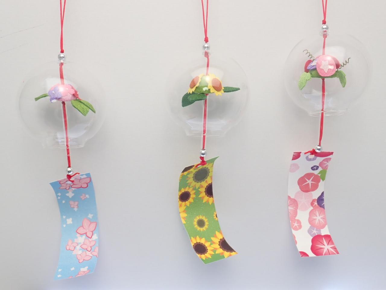 �@日本製ガラス風鈴和柄夏の花3柄セット(本体8cm)国内製32−304