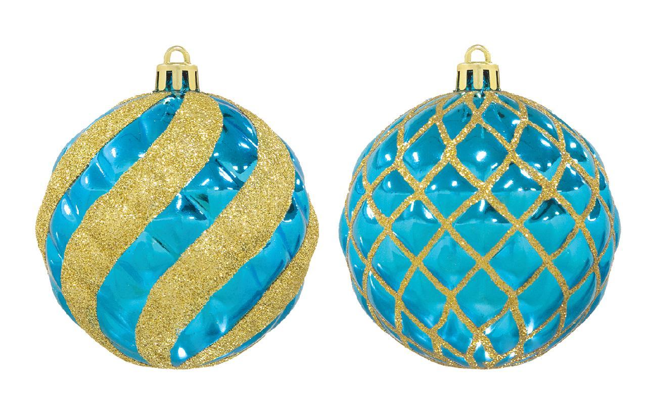 クリスマスボール80mmスパイラル/ラティスボール4個アソートセット(ブルー/ゴールド)OXM1482