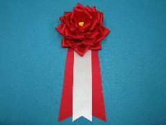 胸につける花リボンバラ章・記章・徽章(大・花径12cm)赤/選挙・講演会等で胸につける花