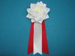 胸につける花リボンバラ章・記章・徽章(大・花径12cm)白/選挙・講演会等で胸につける花