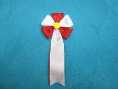 胸につける花・五方タレ章・記章・徽章(花径6cm)赤/選挙・講演会等で胸につける花