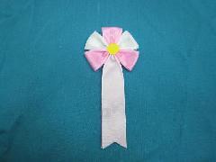 胸につける花・五方タレ章・記章・徽章(花径6cm)ピンク/選挙・講演会等で胸につける花