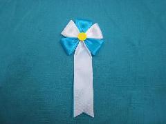 胸につける花・五方タレ章・記章・徽章(花径6cm)青/選挙・講演会等で胸につける花