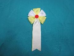 胸につける花・五方タレ章・記章・徽章(花径6cm)黄/選挙・講演会等で胸につける花