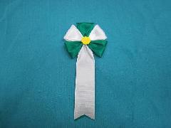 胸につける花・五方タレ章・記章・徽章(花径6cm)緑/選挙・講演会等で胸につける花