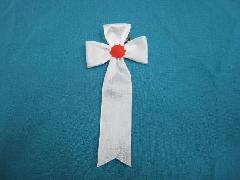 胸につける花・立ヒナ章・記章・徽章(花幅5.5cm)白/選挙・講演会等で胸につける花