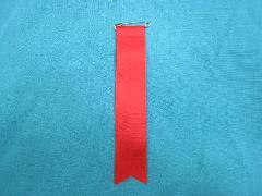 胸につける目印・リボンタレ章(小)記章・徽章(全長13cm)赤/選挙・講演会等で胸につけるリボン