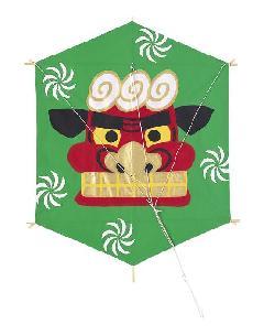 和紙六角凧(獅子)60×48cm