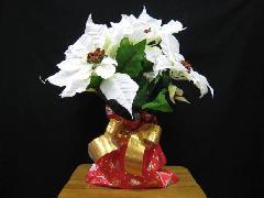 デパート仕様造花ポインセチア鉢植え(ホワイト)