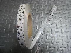 在庫処分メッキテープ   1,5cm幅200M巻き粘着なし(スター・シルバー)