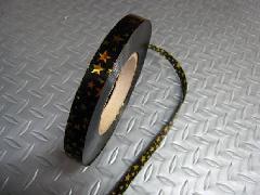 在庫処分メッキテープ   1,5cm幅200M巻き粘着なし(スター・ゴールド)