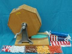 特価1台限り・木製抽選器1000球用+玉500球+ミニ万国旗