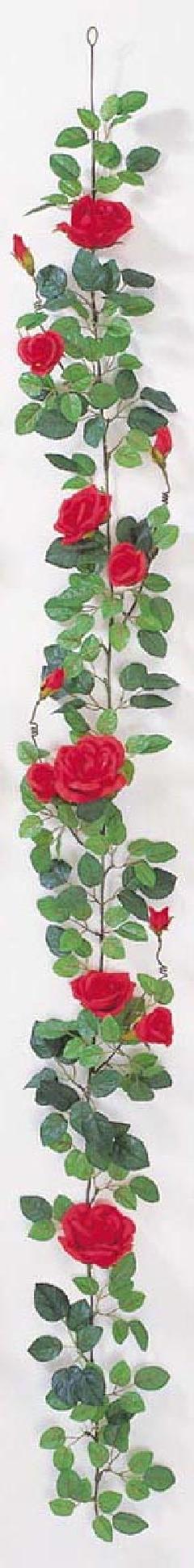 屋内用造花バラガーランド(プラチナローズ・レッド・全長180cm/花径5〜10cm)FLG−302