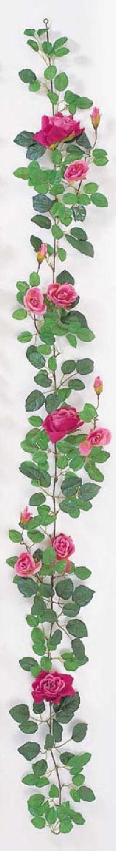 屋内用造花バラガーランド(プラチナローズ・モーブ・全長180cm/花径5〜10cm)FLG−302