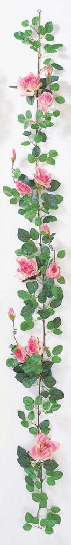 屋内用造花バラガーランド(プラチナローズ・ピンク・全長180cm/花径5〜10cm)FLG−302