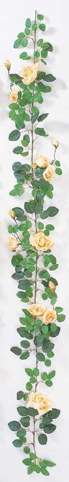 屋内用造花バラガーランド(プラチナローズ・ピーチ/イエロー・全長180cm/花径5〜10cm)FLG−302