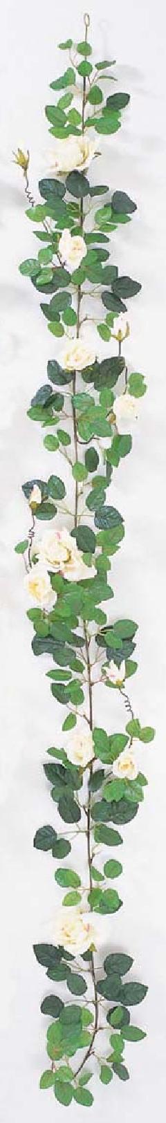 屋内用造花バラガーランド(プラチナローズ・クリーム/ピンク・全長180cm/花径5〜10cm)FLG−302