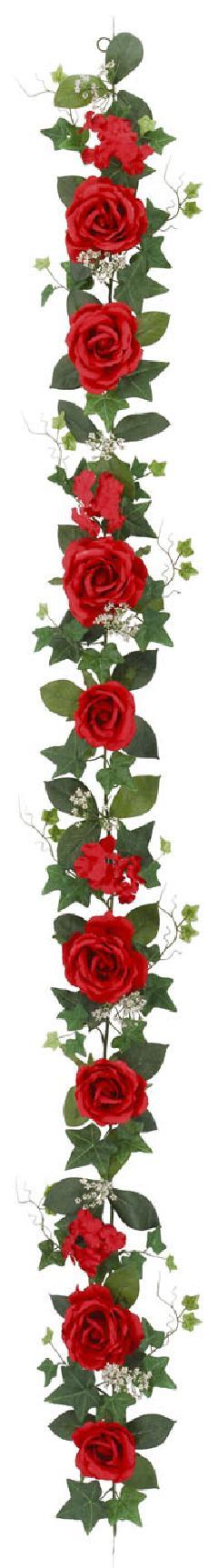 屋内用造花バラガーランド(ファインローズ・レッド・全長180cm/花径3.5〜11cm)FLG−3017