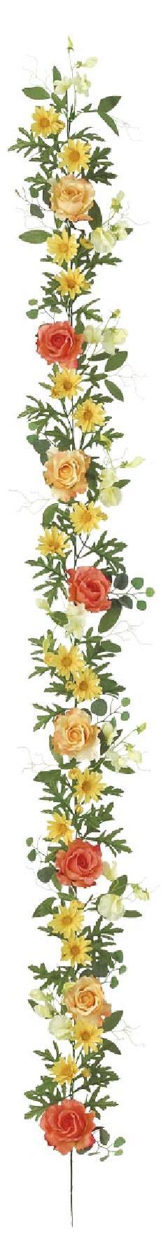 屋内用造花バラガーランド(アソートローズ・イエローミックス・全長175cm/花径1.5〜8cm)FLG−3006