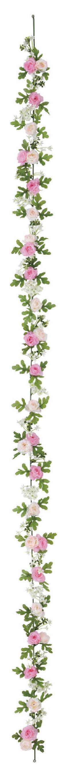 屋内用造花ミニバラガーランド(ミニローズ・ピンクミックス・全長180cm/花径1.5〜4cm)FLG−3025