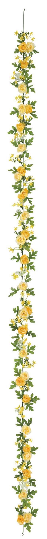 屋内用造花ミニバラガーランド(ミニローズ・イエローミックス・全長180cm/花径1.5〜4cm)FLG−3025