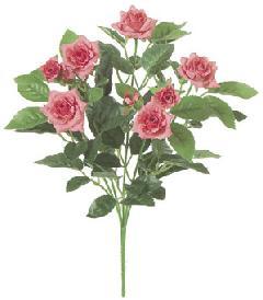 屋内用造花バラブッシュ鉢ナシ(ミニダイヤモンドローズ・ホットピンク・全長27cm/花径1〜4.5cm)FLB8004