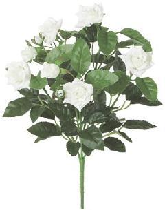 屋内用造花バラブッシュ鉢ナシ(ミニダイヤモンドローズ・ホワイト・全長27cm/花径1〜4.5cm)FLB8004