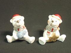 卸販売クリスマス雑貨(シットダウンホワイトベア・2種12個入り・陶器製)