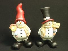 卸販売クリスマス雑貨(レトロスノーマンズ・2種6個入り・陶器製)