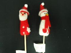 卸販売クリスマス雑貨(ノッポサンタ&スノーマンピック・2種12個入り)XM178
