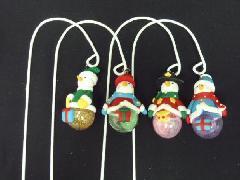 卸販売クリスマス雑貨(玉乗りスノーマンゆらゆらピック・4種12個入り)XM1157