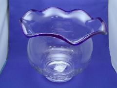 ガラス製金魚鉢(M・h19cm・青)FR675